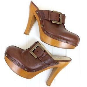 Enzo Angiolini leather & wood Kaloni platform clog
